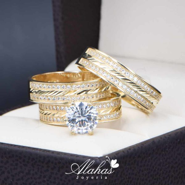 Trios de boda oro 14k Joyeria Alahas troz-108
