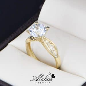 anillo de compromiso oro 14k con zirconias Joyeria Alahas soloz-215