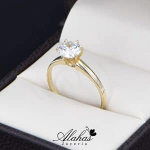 anillo de compromiso oro 14k con zirconias Joyeria Alahas soloz-222