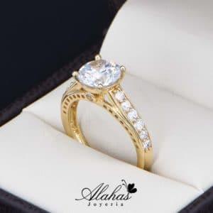 anillo de compromiso oro 14k con zirconias Joyeria Alahas soloz-223