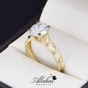 anillo de compromiso oro 14k con zirconias Joyeria Alahas soloz-224